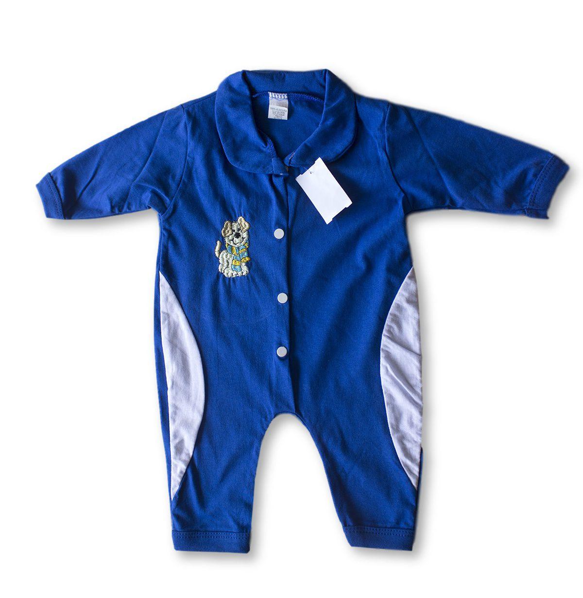 Macacão Bebe Recém Nascido Masculino Bordado Cod 9119