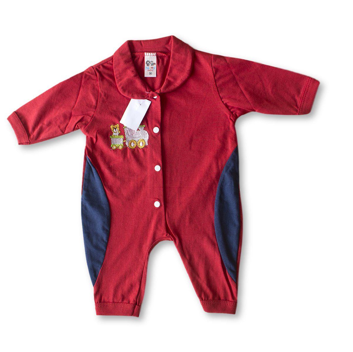Macacão Bebe Recém Nascido Masculino Bordado Cod 9121