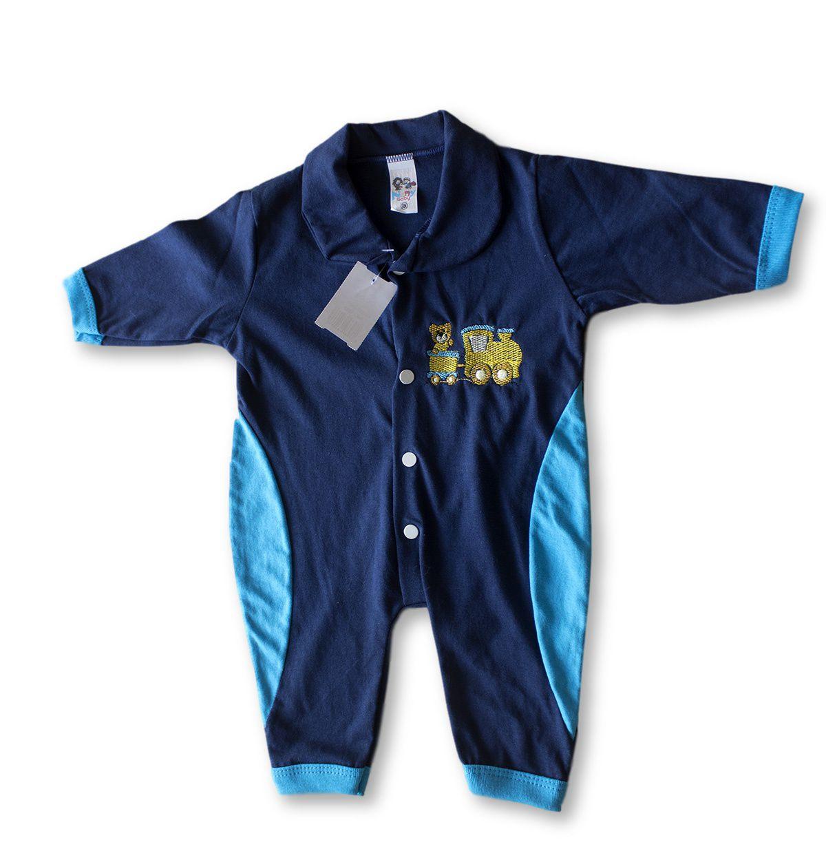 Macacão Bebe Recém Nascido Masculino Bordado Cod 9126