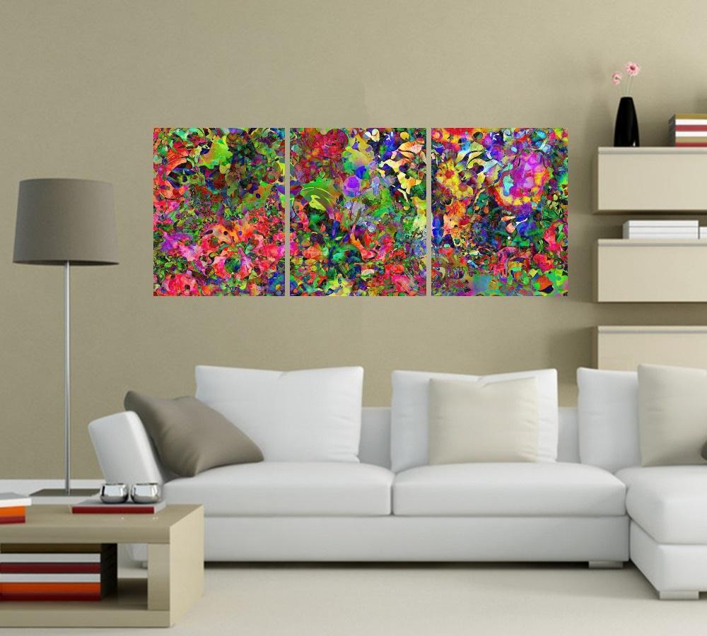 Quadro Abstrato Colorido Impressão em Canvas Fine Art Cod 7027