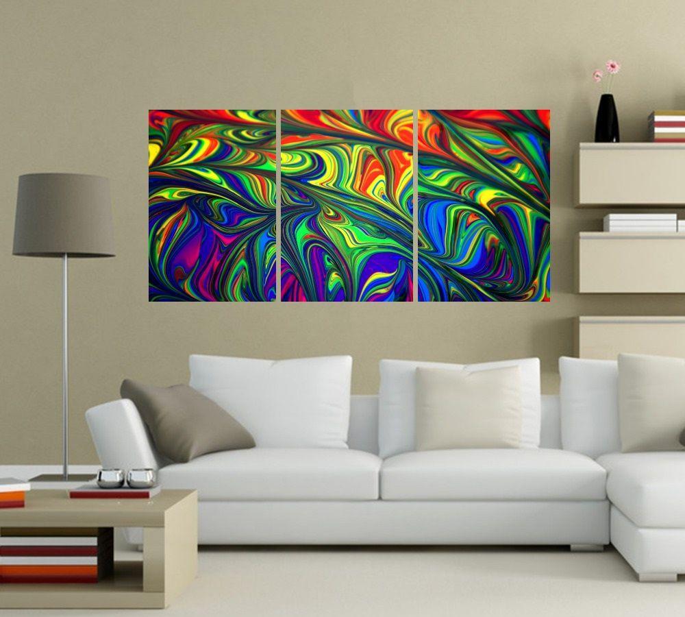 Quadro Abstrato Colorido Impressão em Canvas Fine Art Cod 7048