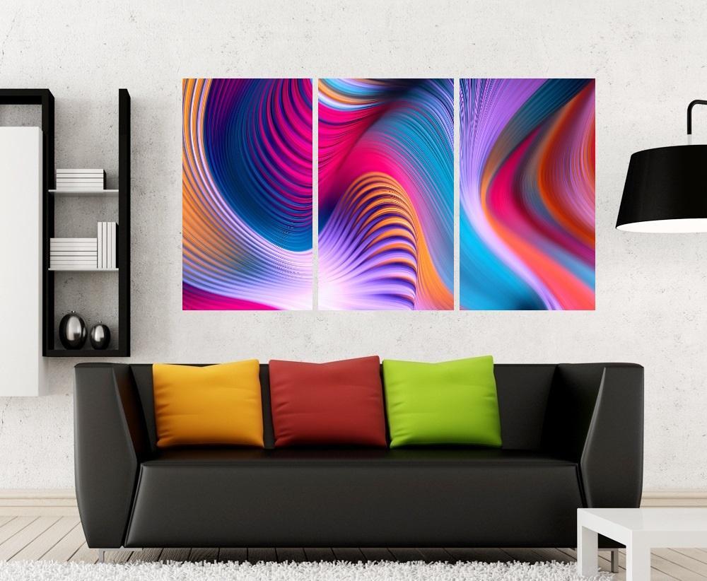 Quadro Abstrato Curvas Colorido Impressão em Canvas Fine Art Cod 7053