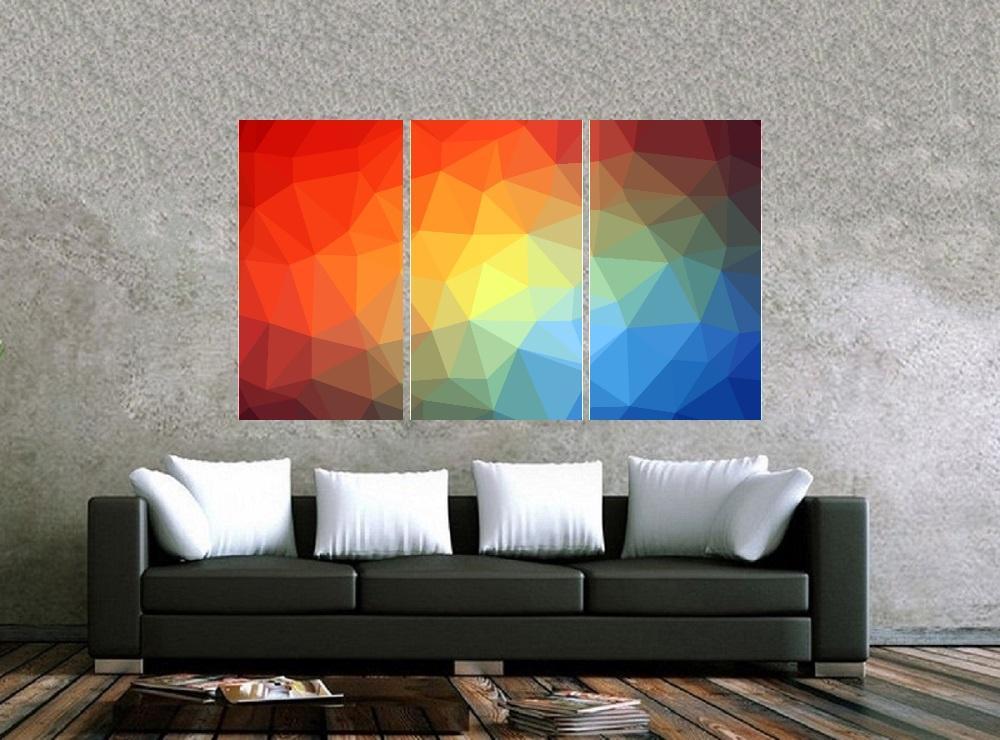 Quadro Colorido Formas Geometricas Impressão em Canvas Fine Art Cod 7038