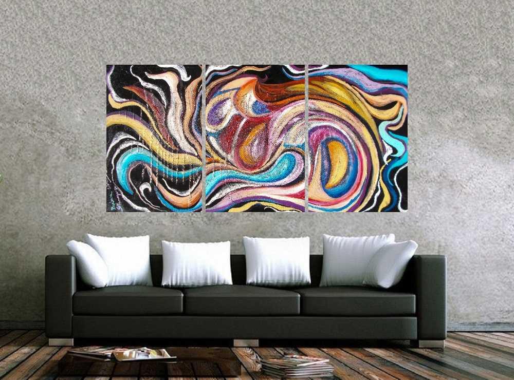 Quadro Curvas Abstrato Impressão em Canvas Fine Art Cod 7035
