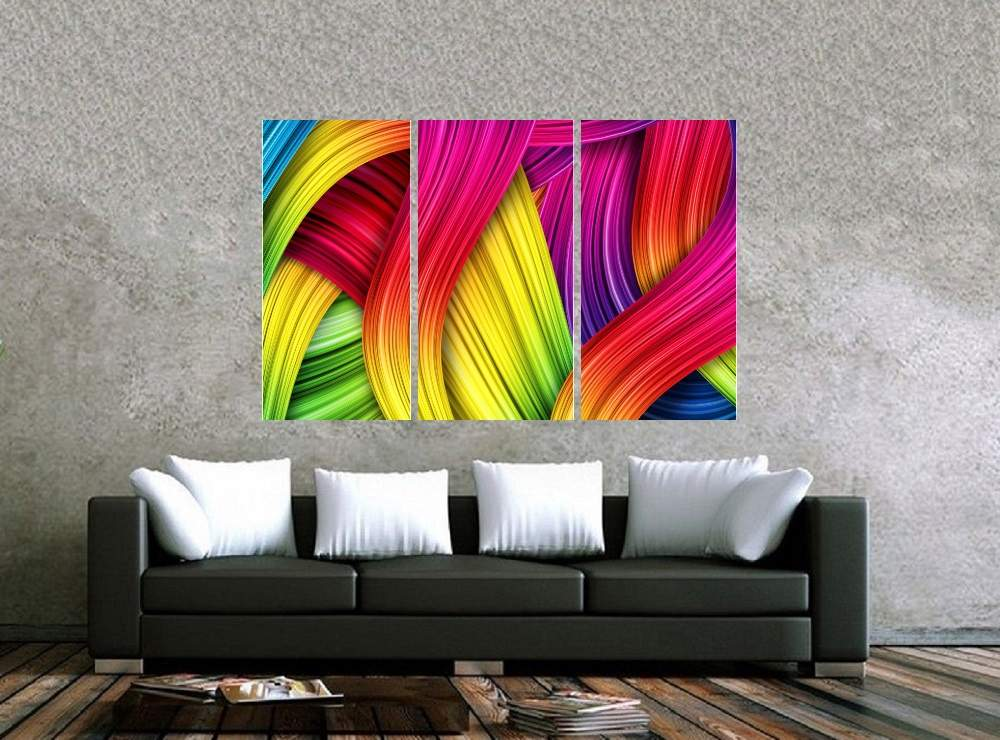 Quadro Curvas Colorido Moderno Impressão em Canvas Fine Art Cod 7054