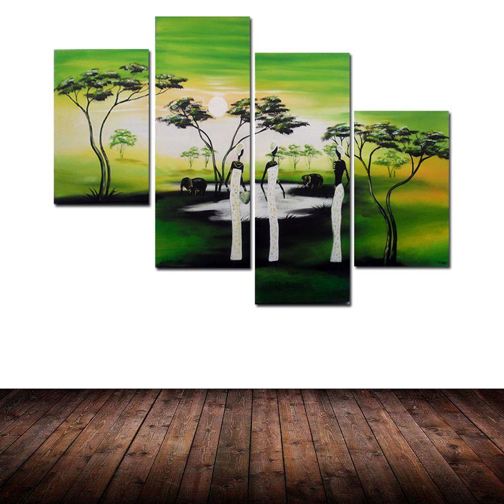 Quadro Decorativo Abstrato Africano Animais Paisagem Moderno Cod 432