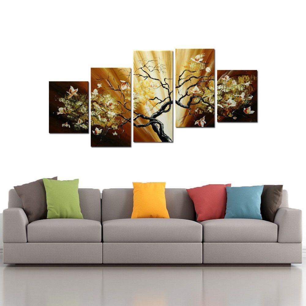 Quadro Decorativo Abstrato Flores Florais Arvores Moderno Cod 45