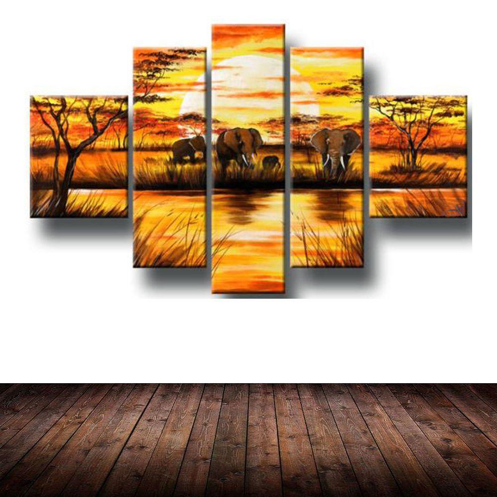 Quadro Decorativo Africano Animais Paisagem Cod 283