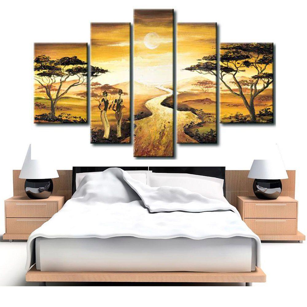 Quadro Decorativo Africano Paisagem Cod 294