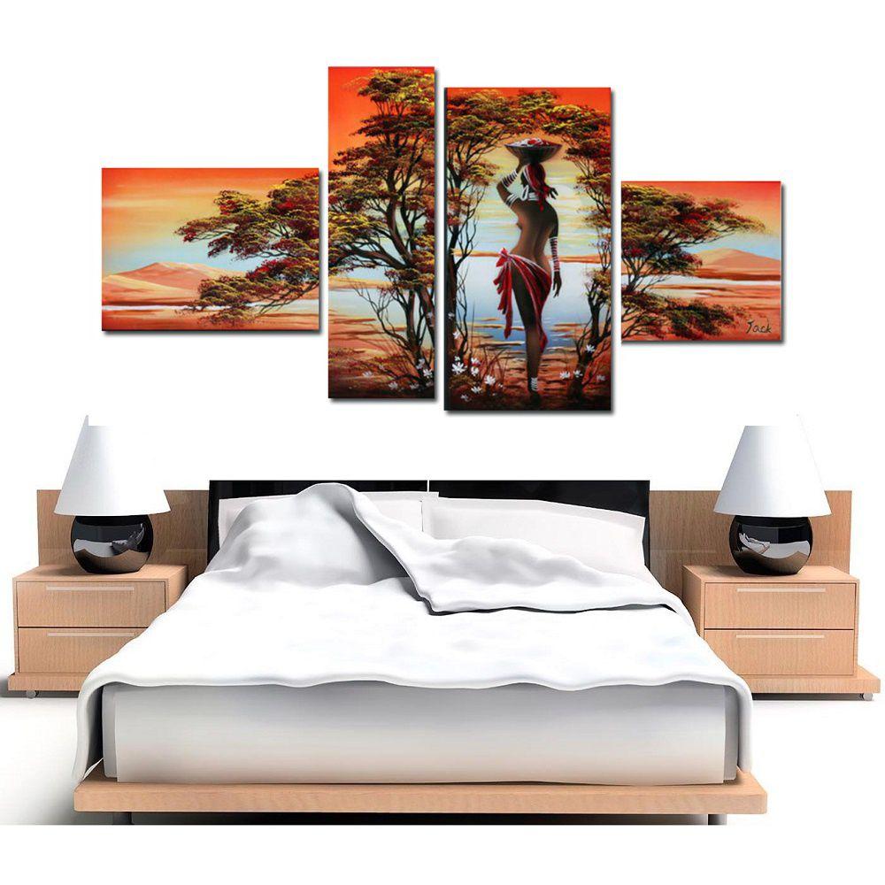 Quadro Decorativo Africano Paisagem Cod 443