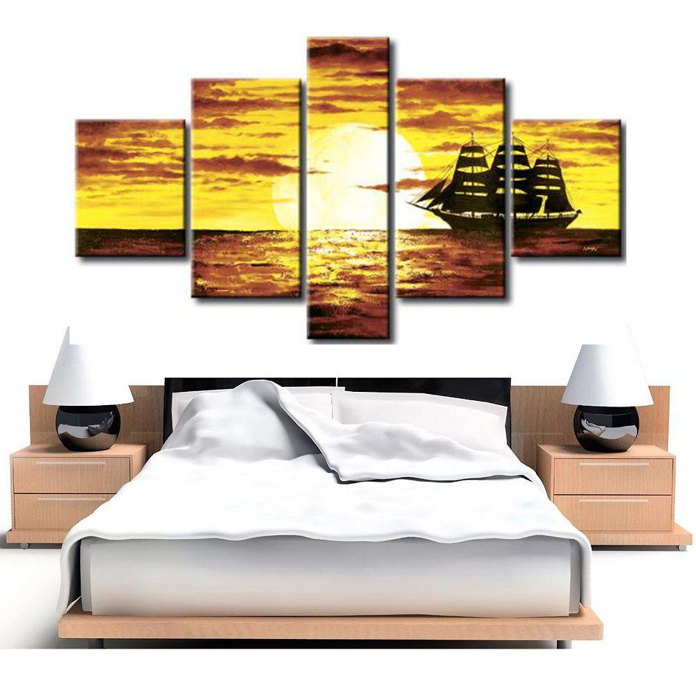 Quadro Decorativo Praia Mar Lagos Navio Barco Cod 306