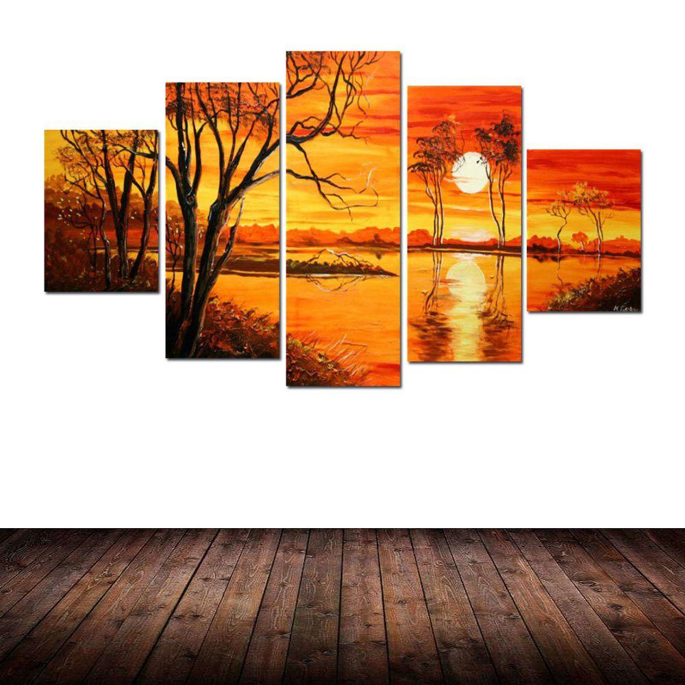 Quadro Decorativo Praia Mar Lagos Paisagem Impressionista Cod 24