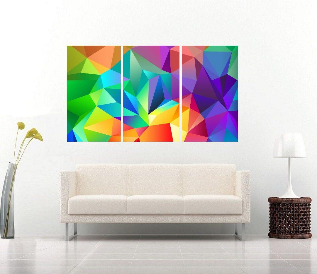 Quadro Formas Colorido Geometrica Impressão em Canvas Fine Art Cod 7055