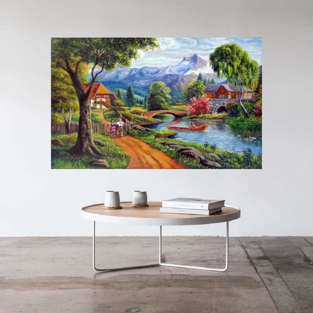 Quadro Pintura Paisagem Óleo Sobre Tela Cod 3009