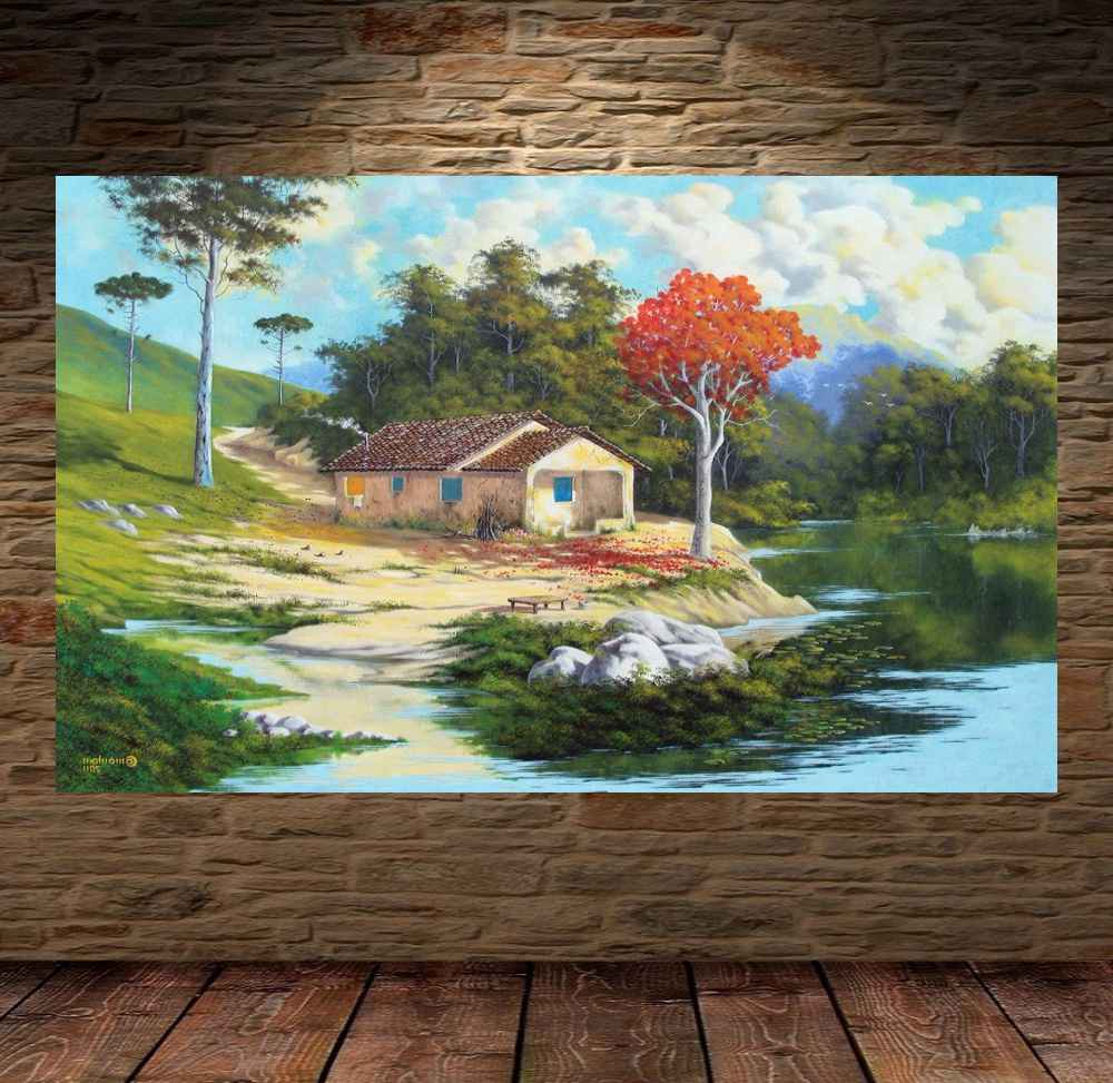 Quadro Pintura Paisagem Óleo Sobre Tela Cod 3011
