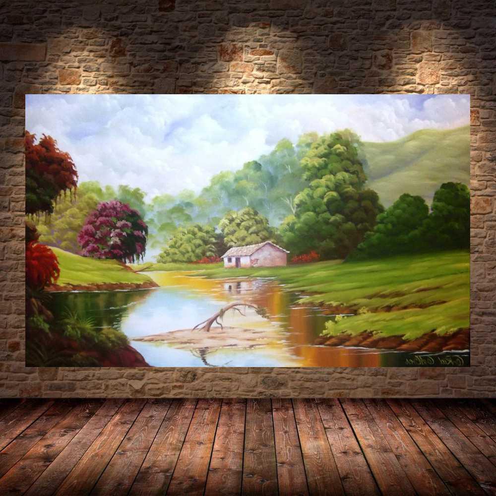 Quadro Pintura Paisagem Óleo Sobre Tela Cod 3012