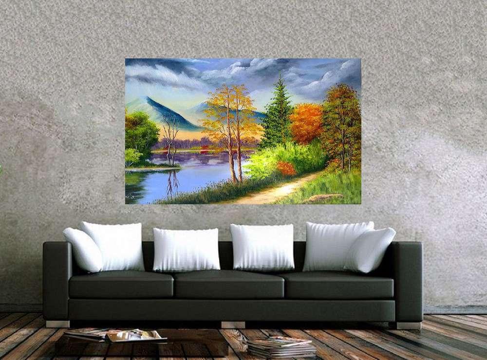 Quadro Pintura Paisagem Óleo Sobre Tela Cod 3013