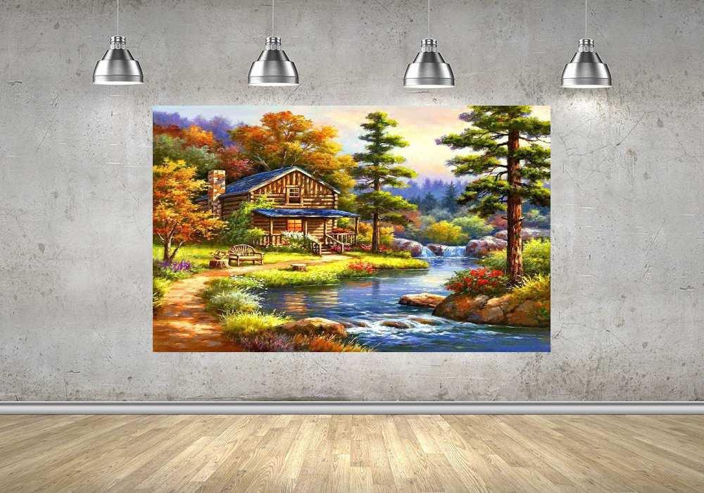 Quadro Pintura Paisagem Óleo Sobre Tela Cod 3014