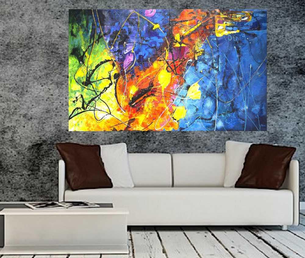 Quadro Pintura Tela Abstrato Cod 2047