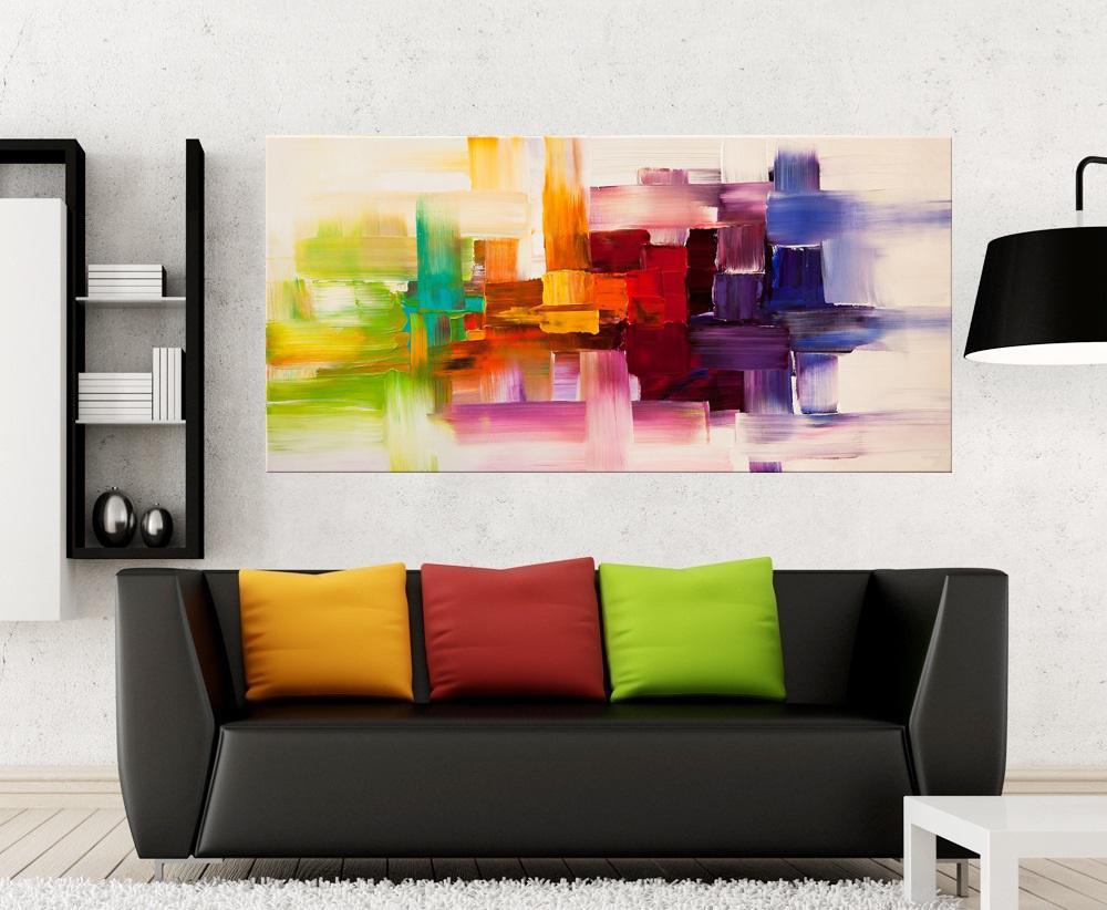 Quadro Pintura Tela Abstrato Moderno Cod 2001
