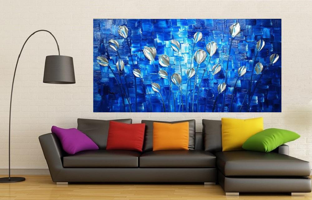 Quadro Pintura Tela Abstrato Moderno Cod 2195