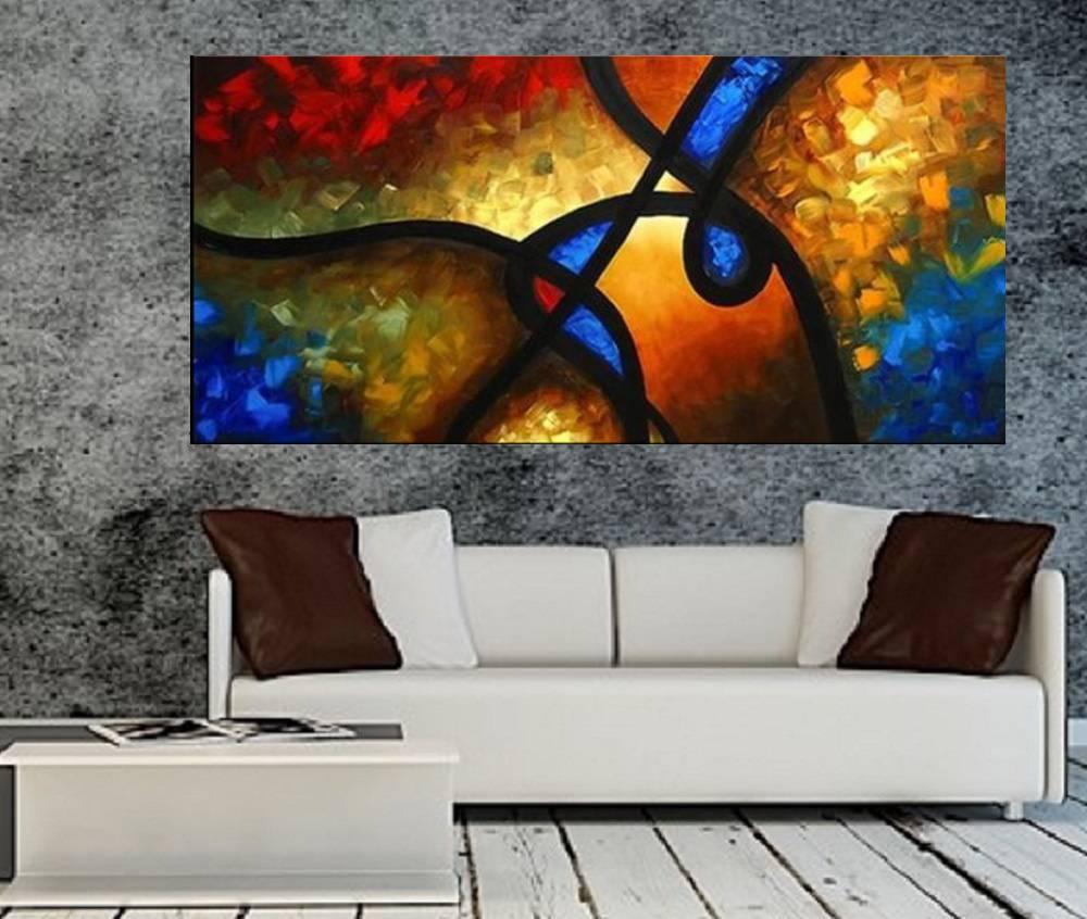 Quadro Pintura Tela Abstrato Moderno Cod 2455