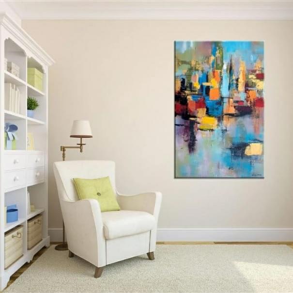 Quadro Pintura Tela Abstrato Moderno Cod 5008