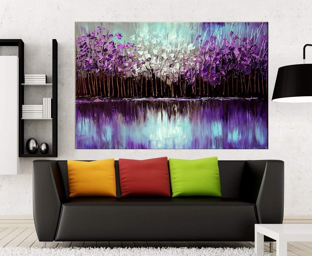 Quadro Pintura Tela Arvores e Flores Modernas Em Altos Relevos Cod 2010