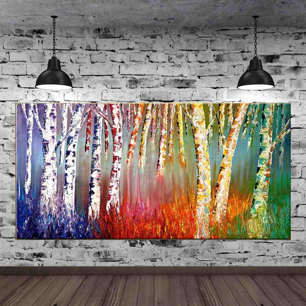 Quadro Pintura Tela Arvores e Flores Modernas Em Altos Relevos Cod 2013
