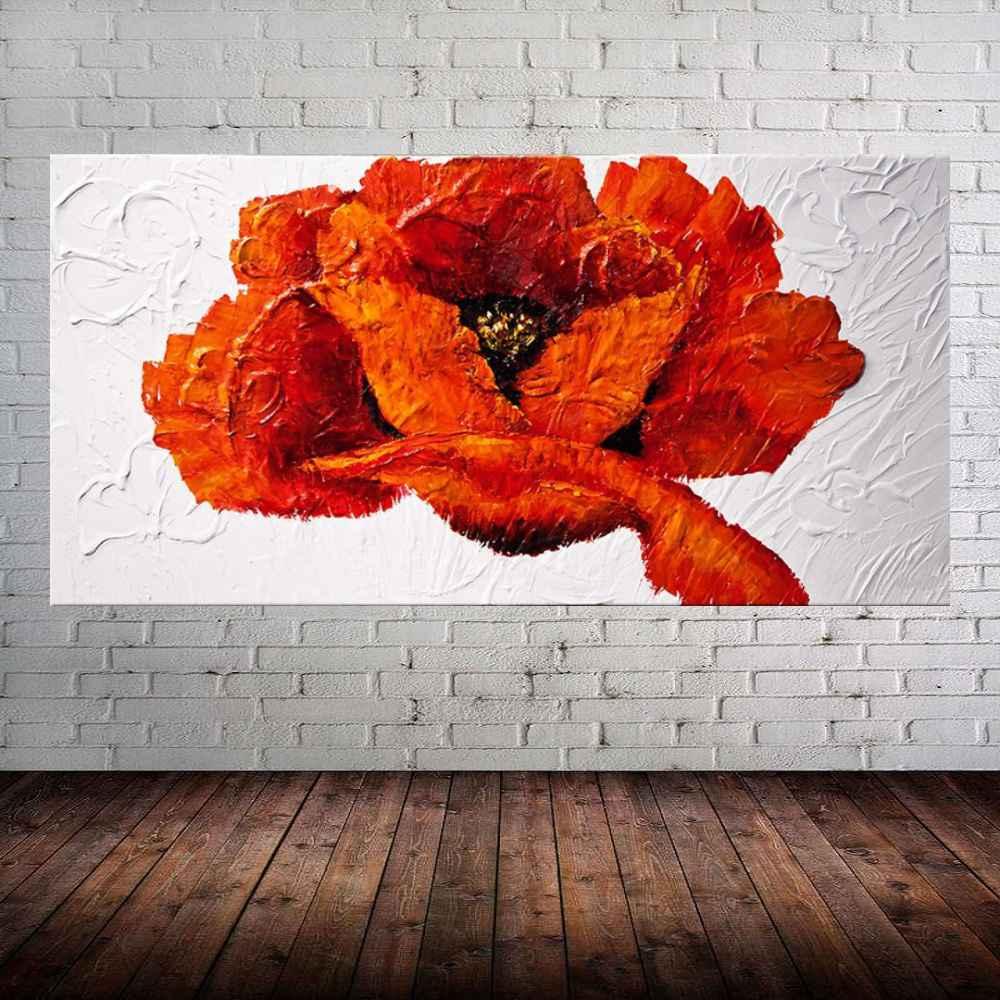 Quadro Pintura Tela Arvores e Flores Modernas Em Altos Relevos Cod 2019