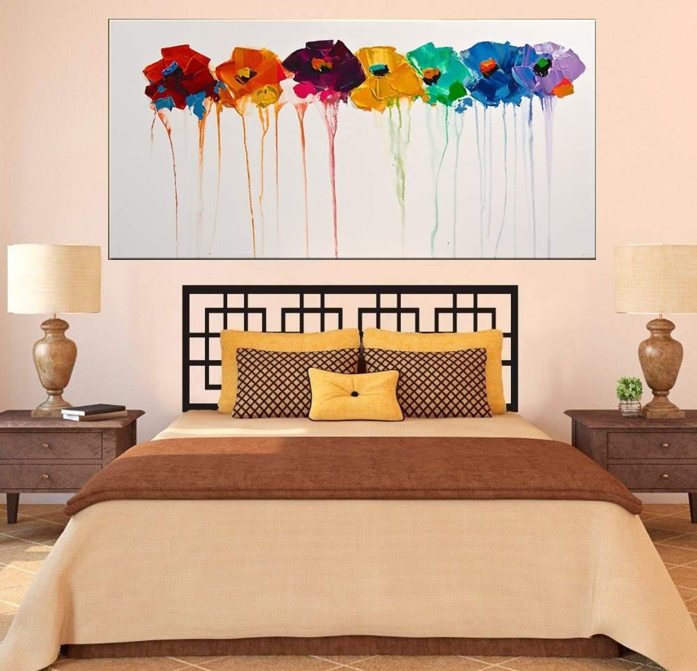 Quadro Pintura Tela Arvores e Flores Modernas Em Altos Relevos Cod 2023