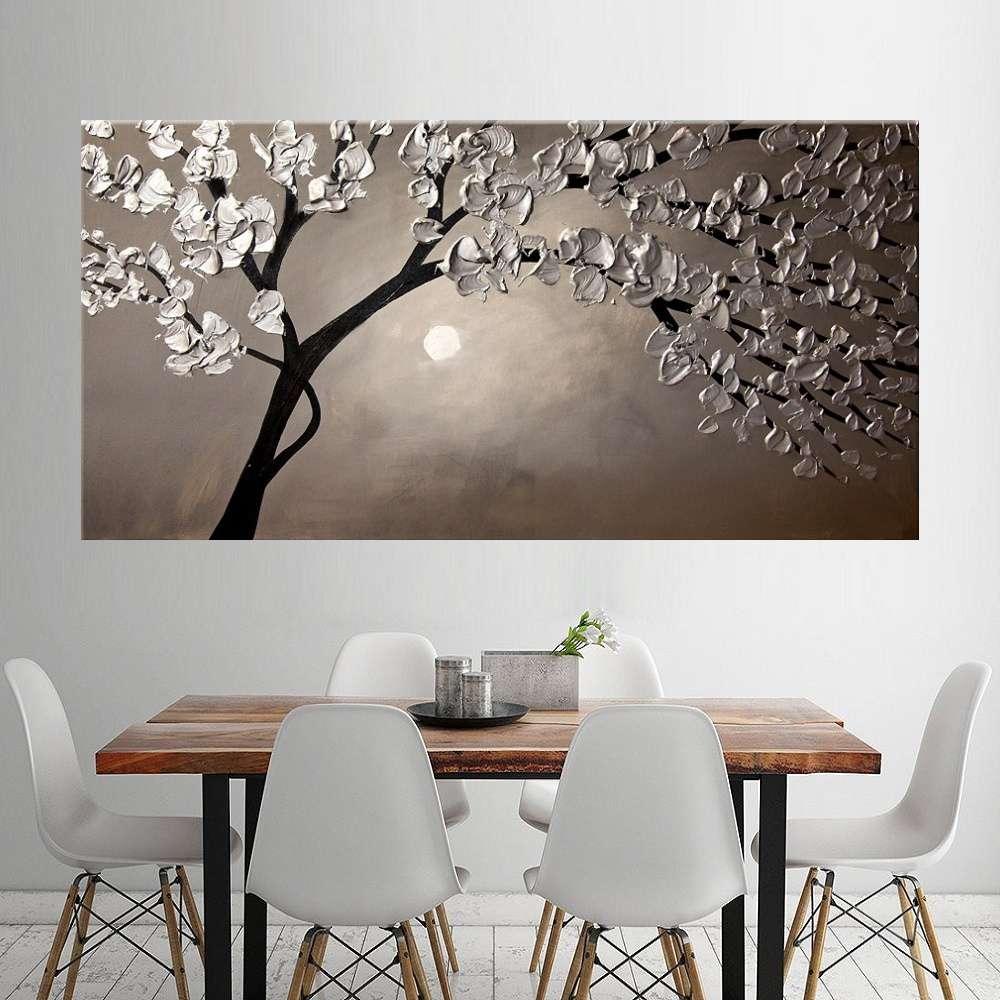 Quadro Pintura Tela Arvores e Flores Modernas Em Altos Relevos Cod 2024