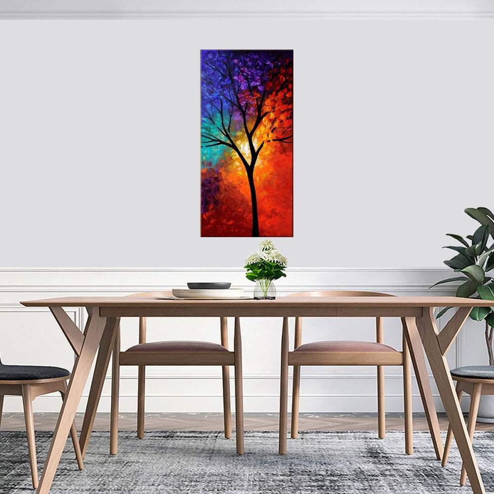 Quadro Pintura Tela Arvores e Flores Modernas Em Altos Relevos Cod 2030