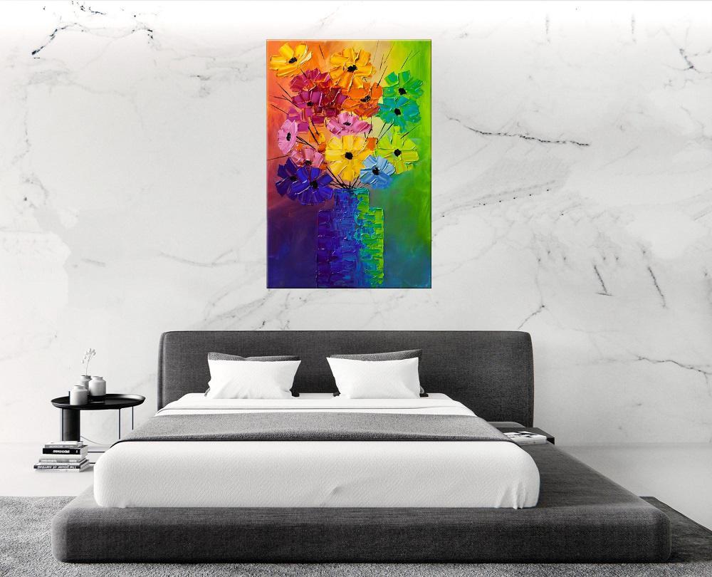 Quadro Pintura Tela Arvores e Flores Modernas Em Altos Relevos Cod 2035