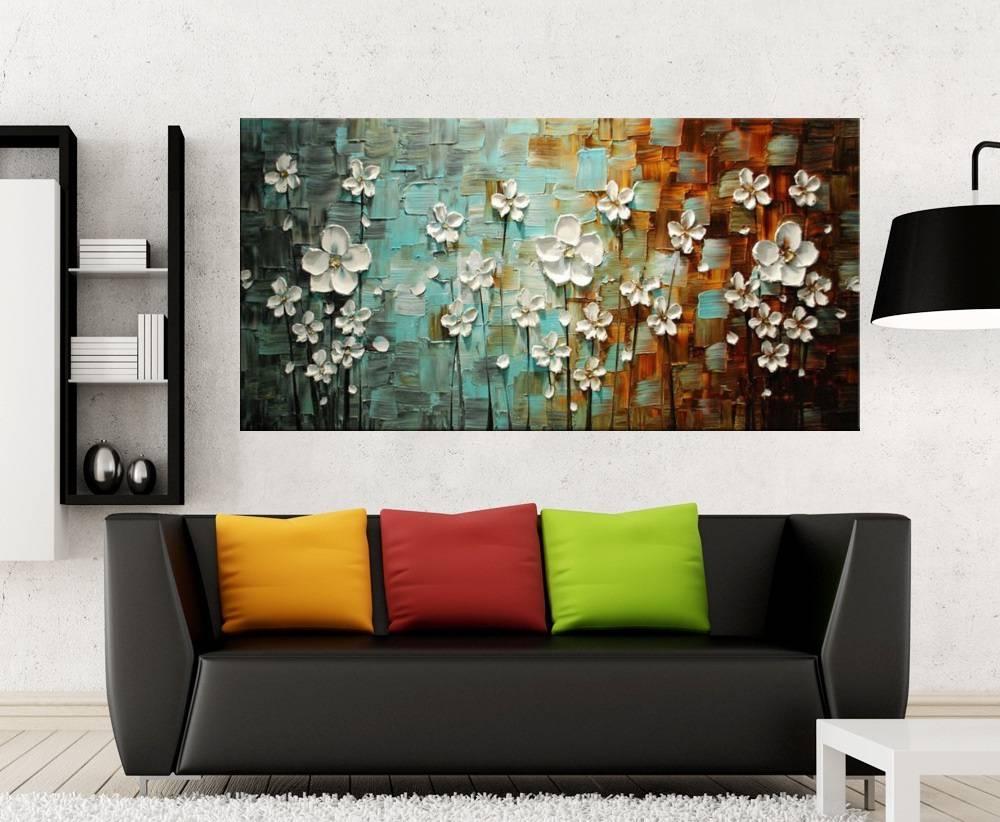 Quadro Pintura Tela Arvores e Flores Modernas Em Altos Relevos Cod 2037