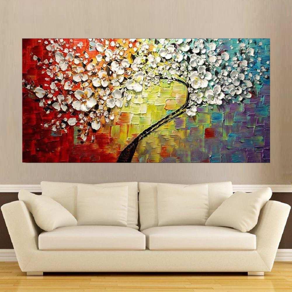 Quadro Pintura Tela Arvores e Flores Modernas Em Altos Relevos Cod 2038