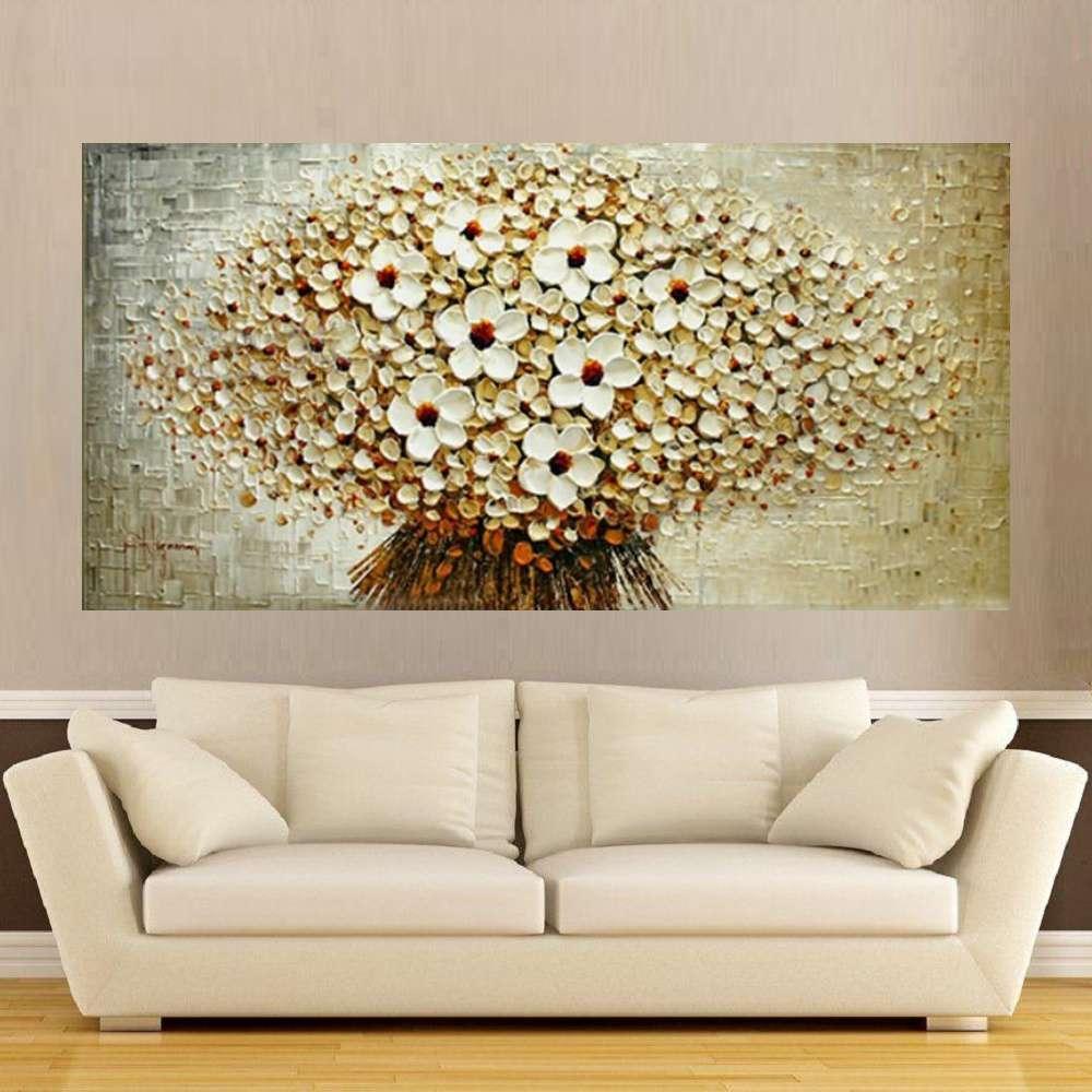 Quadro Pintura Tela Arvores e Flores Modernas Em Altos Relevos Cod 2039