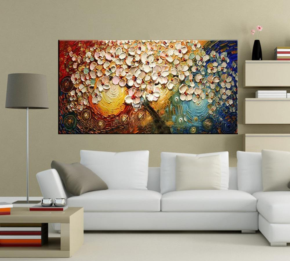 Quadro Pintura Tela Arvores e Flores Modernas Em Altos Relevos Cod 2040