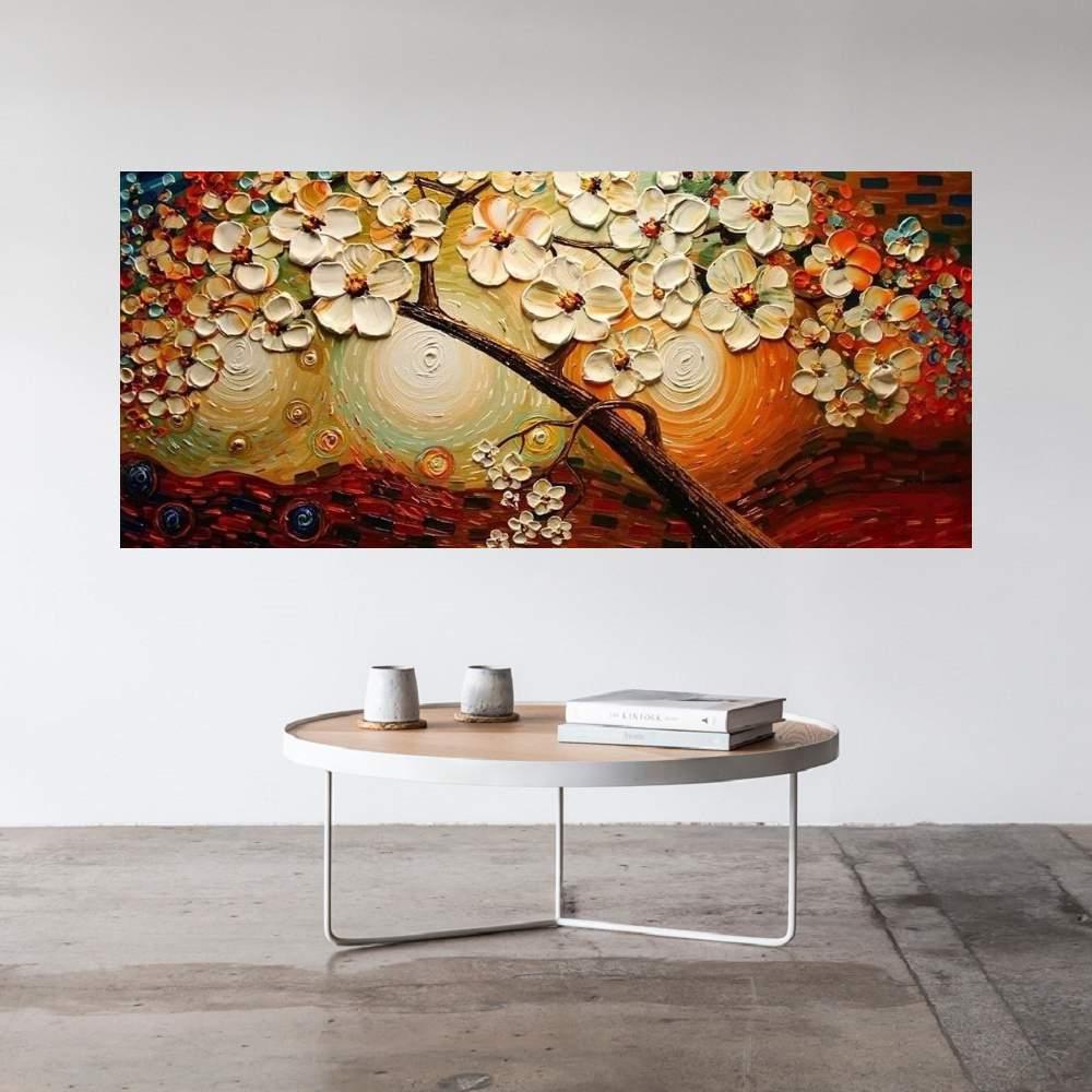 Quadro Pintura Tela Arvores e Flores Modernas Em Altos Relevos Cod 2045