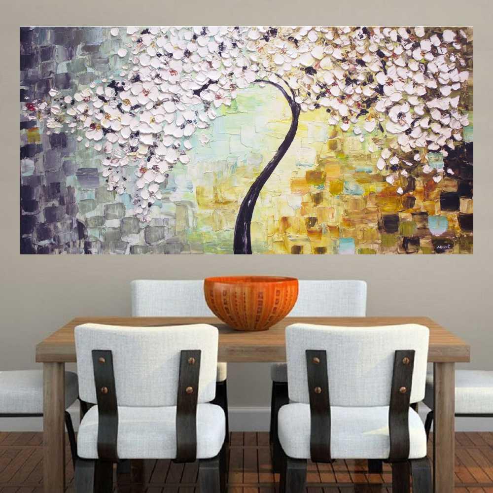 Quadro Pintura Tela Arvores e Flores Modernas Em Altos Relevos Cod 2050