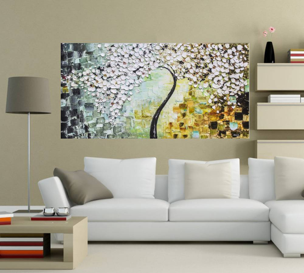 Quadro Pintura Tela Arvores e Flores Modernas Em Altos Relevos Cod 2051