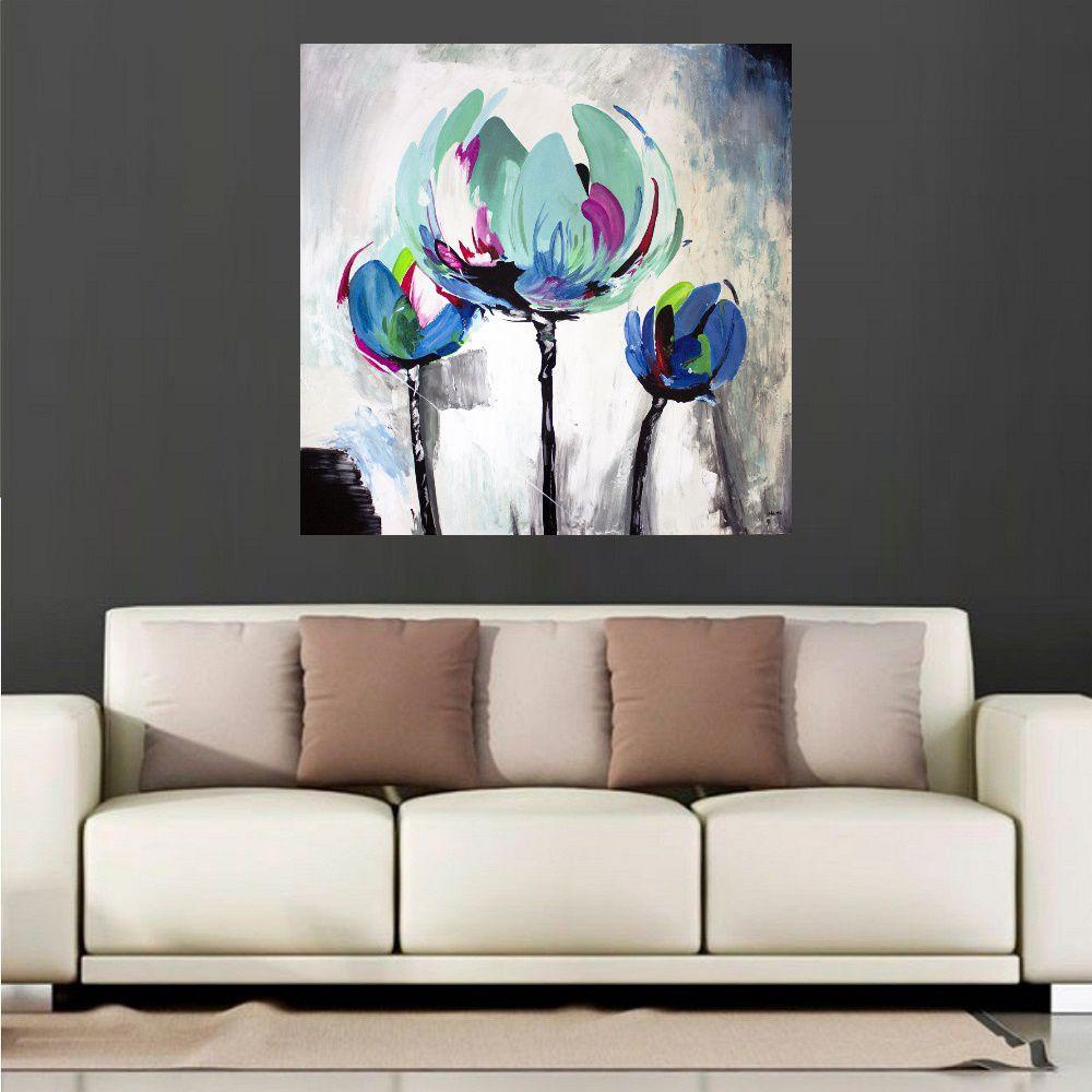 Quadro Pintura Tela Arvores e Flores Modernas Em Altos Relevos Cod 2052
