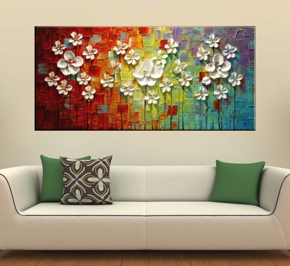 Quadro Pintura Tela Arvores e Flores Modernas Em Altos Relevos Cod 2054