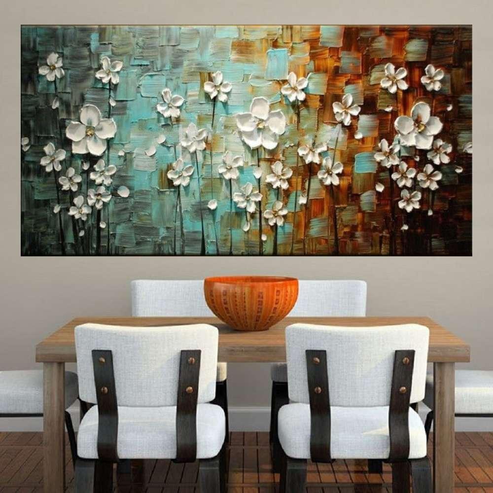 Quadro Pintura Tela Arvores e Flores Modernas Em Altos Relevos Cod 2055