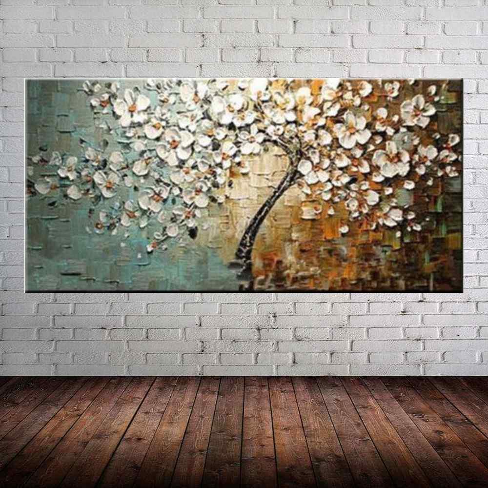 Quadro Pintura Tela Arvores e Flores Modernas Em Altos Relevos Cod 2056