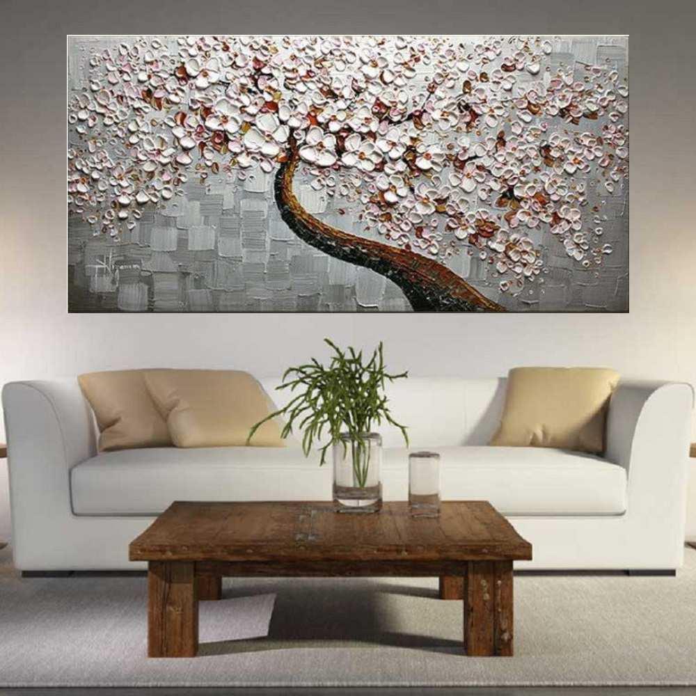 Quadro Pintura Tela Arvores e Flores Modernas Em Altos Relevos Cod 2057