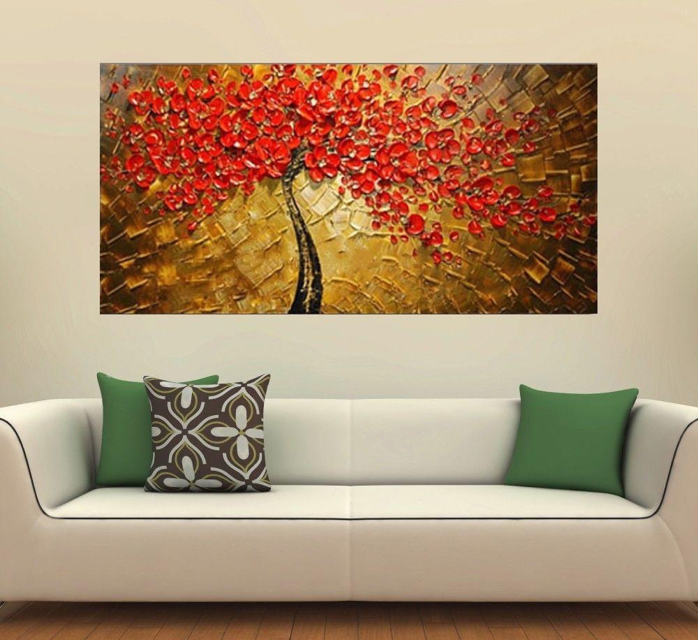 Quadro Pintura Tela Arvores e Flores Modernas Em Altos Relevos Cod 2061