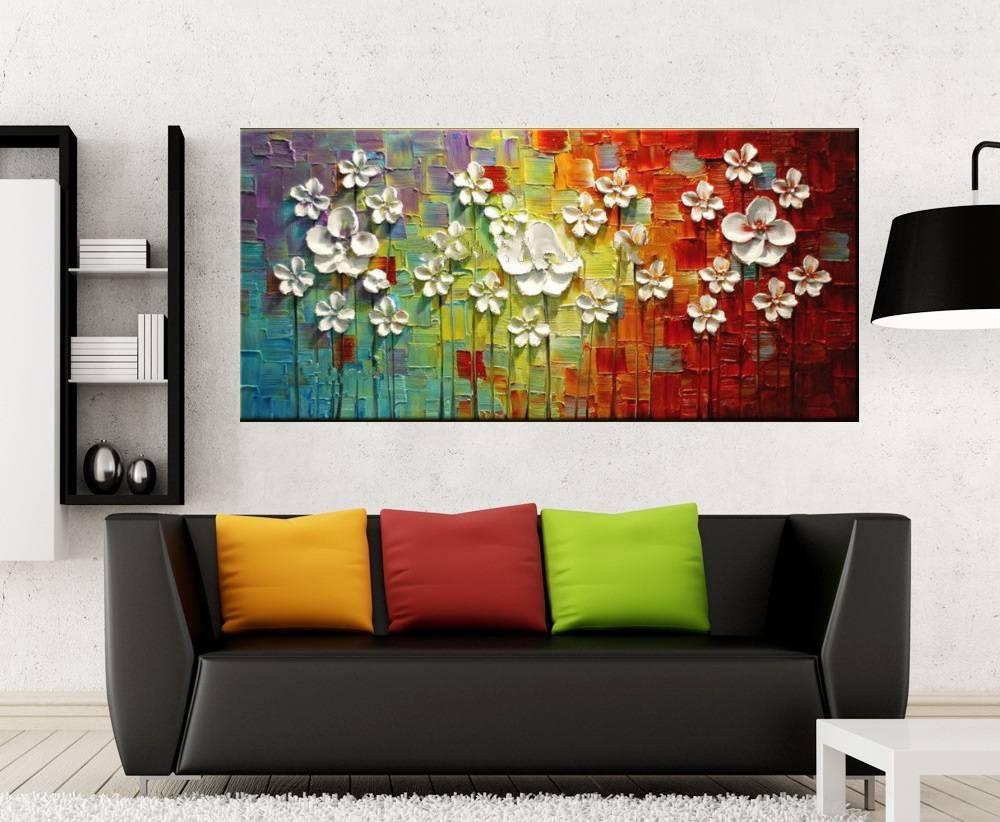 Quadro Pintura Tela Arvores e Flores Modernas Em Altos Relevos Cod 2062