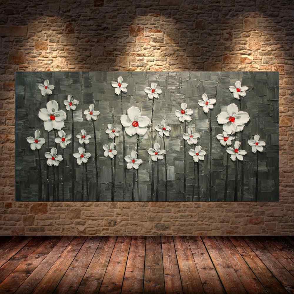 Quadro Pintura Tela Arvores e Flores Modernas Em Altos Relevos Cod 2064