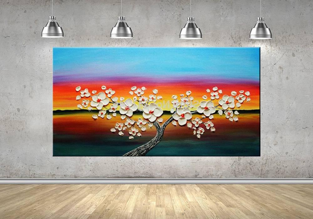 Quadro Pintura Tela Arvores e Flores Modernas Em Altos Relevos Cod 2066